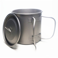 400ML pure titanium mug cup with lid outdoor camping ultra light titanium cup boiling water pot