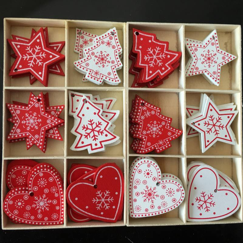 5pcs/set Christmas Decorations for Home White Red Christmas Tree Ornament Wooden Hanging Pendants Angel Snow Bell Elk Star E