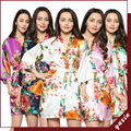 Large floral LF001 Silk Satin Wedding Bride Bridesmaid Robe Floral Bathrobe Short Kimono Robe  Fashion Dressing Gown For Women