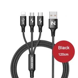 원래 NOHON 3 1 USB 케이블 아이폰 8X7 6 6 초 플러스 5 5 초 삼성 샤오 미 테크 레노버 2 1 마이크로 C 형 빠른 충전 케이블