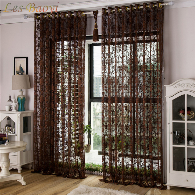 Les Baoyi New Europe Embroidered Tulle Window Curtains For Living Room Bedroom Study Balcony