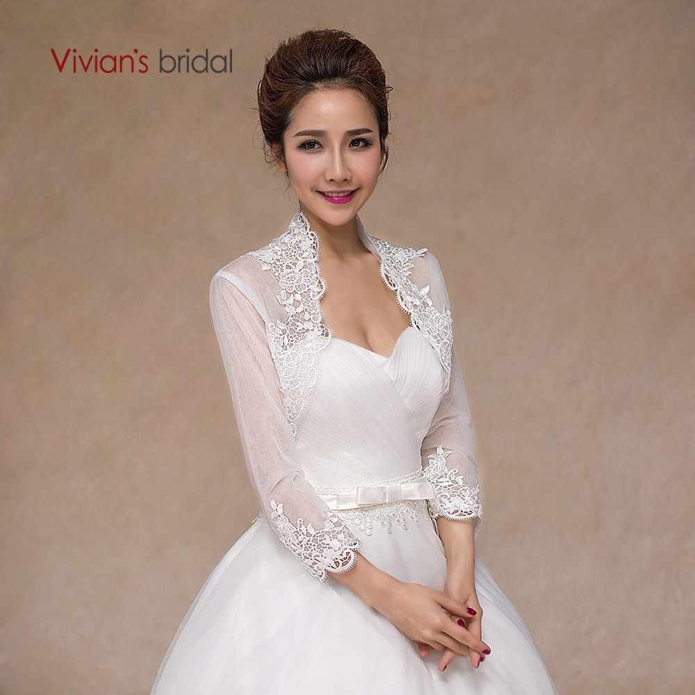 Vivian Appliqued vestido de Noiva Vestido de Casamento Branco Vermelho Seção Fina Xale Senhora Casamento Envoltório Jaqueta de Manga Três Quartos Fina Malha cape