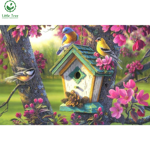 Springtime beauty birds full drill diamond embroidery mosaic pattern crystal inlay diamond picture wall sticker diamond