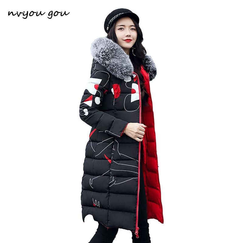 nvyou gou Women Winter Printed Thick Coat Warm Hooded Fur Collar Cotton Long Parka Plus Size