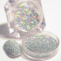 2g/Box Holographic Silver Laser Nail Glitter Powder Gorgeous Shiny Dust Powder Manicure Nail Art Glitter Decoration