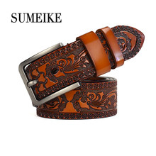 [SUMEIKE] 3.8cm Width Carved Male Waist Strap Pin Buckle Genuine Leather Belt Men 22mm 24mm silicone rubber watch band for panerai luminor radiomir stainless carved pre v buckle strap wrist belt bracelet black