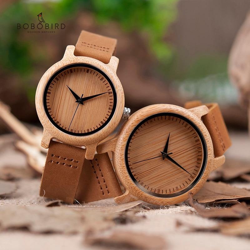 BOBO BIRD Lover Watches Set Handmade Natural Bamboo Wood Wristwatches Men Women Great Gifts Drop Shipping