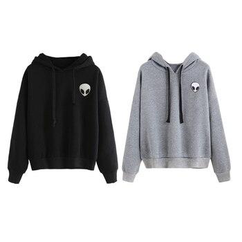 KLV Womens Winter Autumn Sweatshirt Alien Printed Funny Long Sleeve Hoodies Loose Casual Pullover Tops Chic Black Gray New
