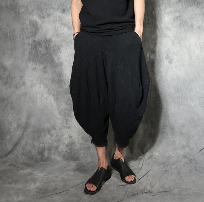 Original design Male vintage ankle length trousers men pants personality bloomers linen loose chinese style harem pants mens