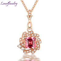 Classic Lovely Lady NEW Princess Cut Solid 18kt Rose Gold Natural Diamond Pink Tourmaline Wedding Pendant Necklace WP067