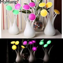 LED Auto Lights Sensor Light-controlled Vase Shape USB Night Light Bulb Table Desk Flower Table Lamp For Home Decoration Gift