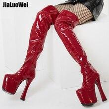 High Heel Plateau Overknee Stiefel boots 8 inch high heel platform thigh plus size 44 45 46
