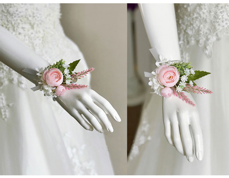 bridal wrist corsage Groom Groomsman boutonniere Brooches rose artificial wedding flower  (6)