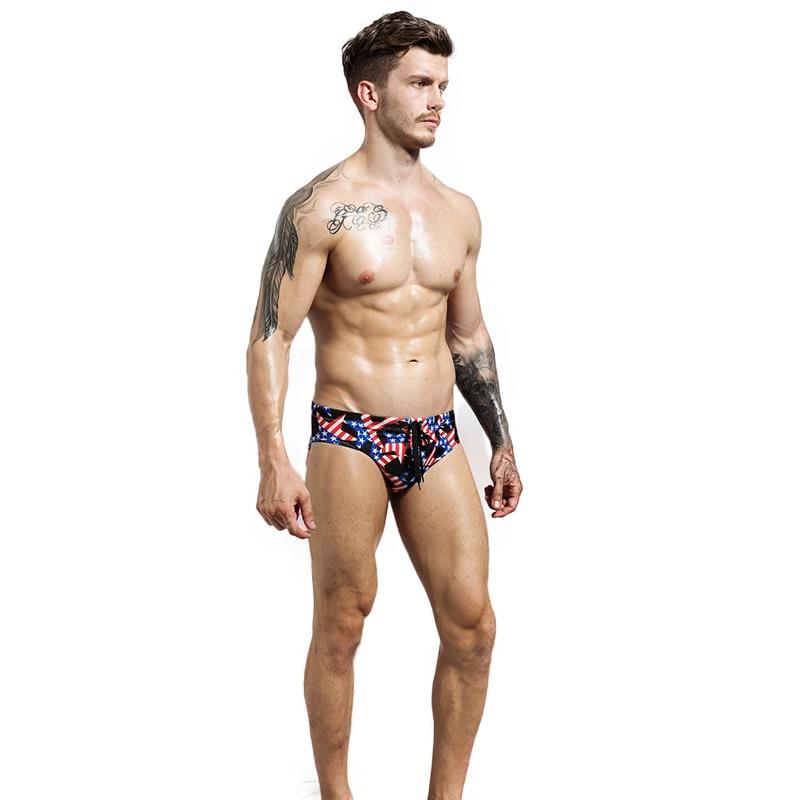 Fashion Mens American Flag Printed Underwear Sexy  Drawstring Slips BeachWear Bikini Comfortable Male Briefs Underpants