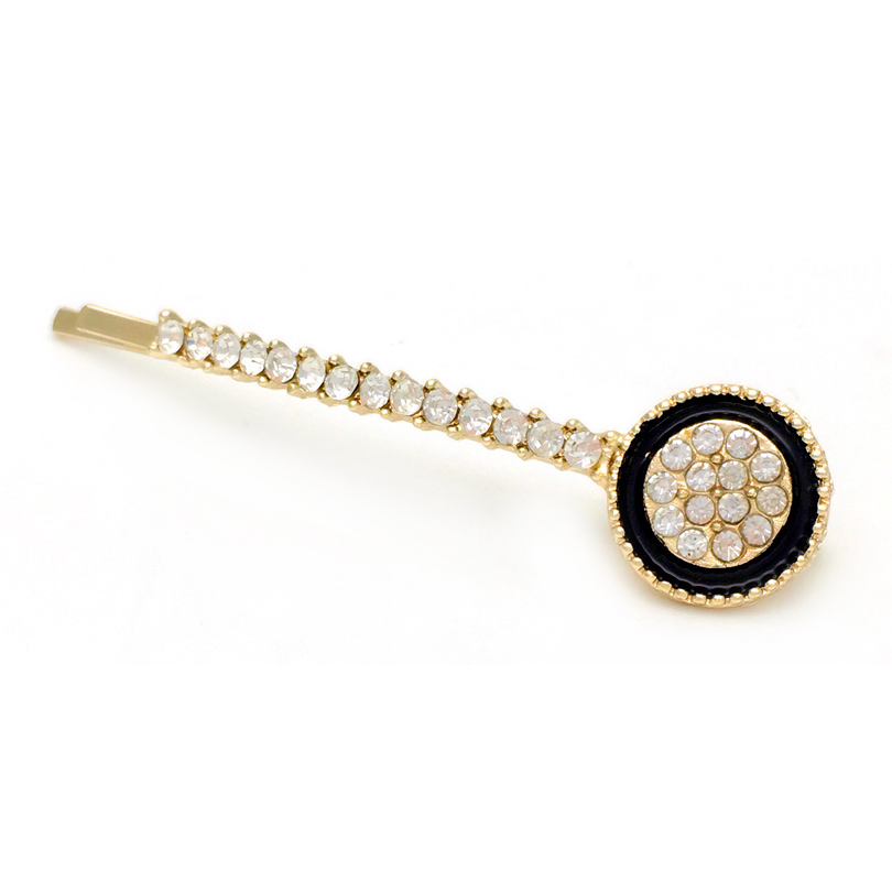 1pcs Rhinestone Round Hairgrips Hair Barrettes Black Drip Oil Round Crystal Hair Pins Clip Headwear Hair Accessories For Women