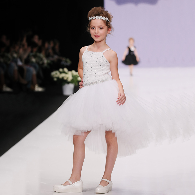 White Girls Dress Formal Party Wedding Dresses Floral Baby Girl Clothes Children Suspender Braces Dress Ball Gown Chiffon Shirt
