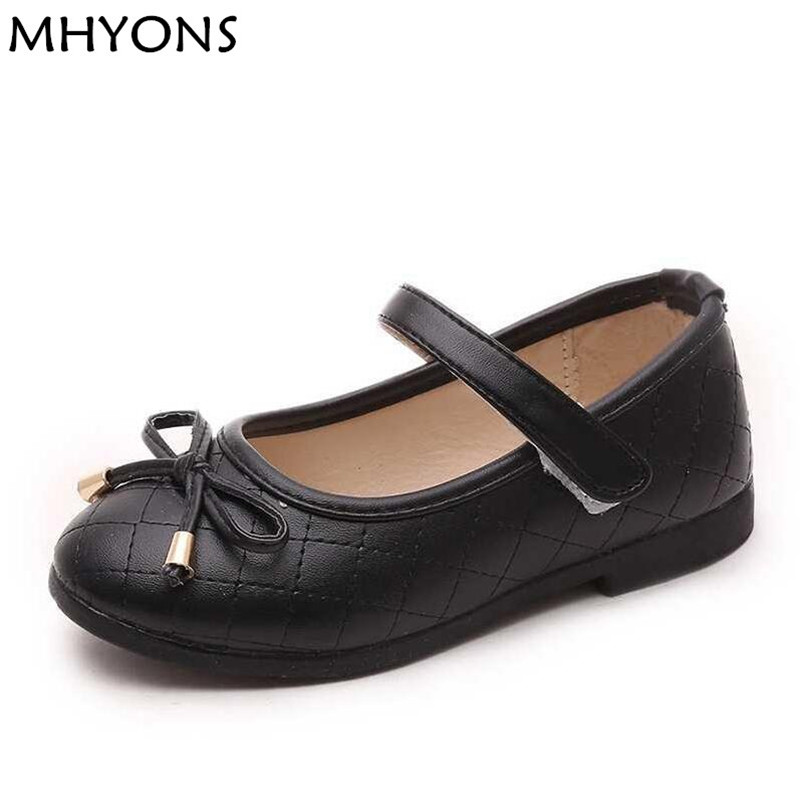MHYONS Girls Pu Leather Shoes Children Causal Shoes Girls Princess Bow Shoes Children Strap Flat Sneaker Kids Fashion Sneaker