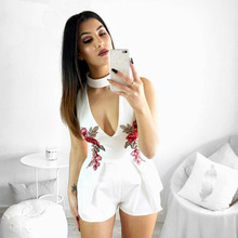 2018 Summer Plus Size XXL Embroidery V Neck Off Shoulder Women Fashion Bodysuit Elegant Sexy Short Jumpsuit Black White Playsuit