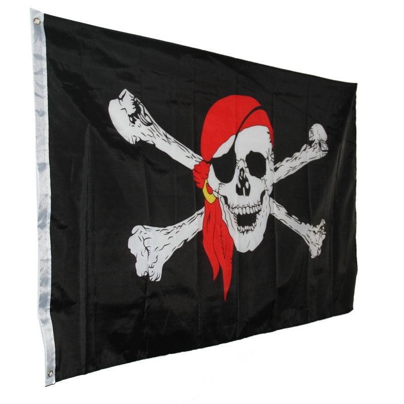 2x3 FT Skull Crossbones Jolly Roger Pirate Flag Boat Banner Decor w// 2  \//