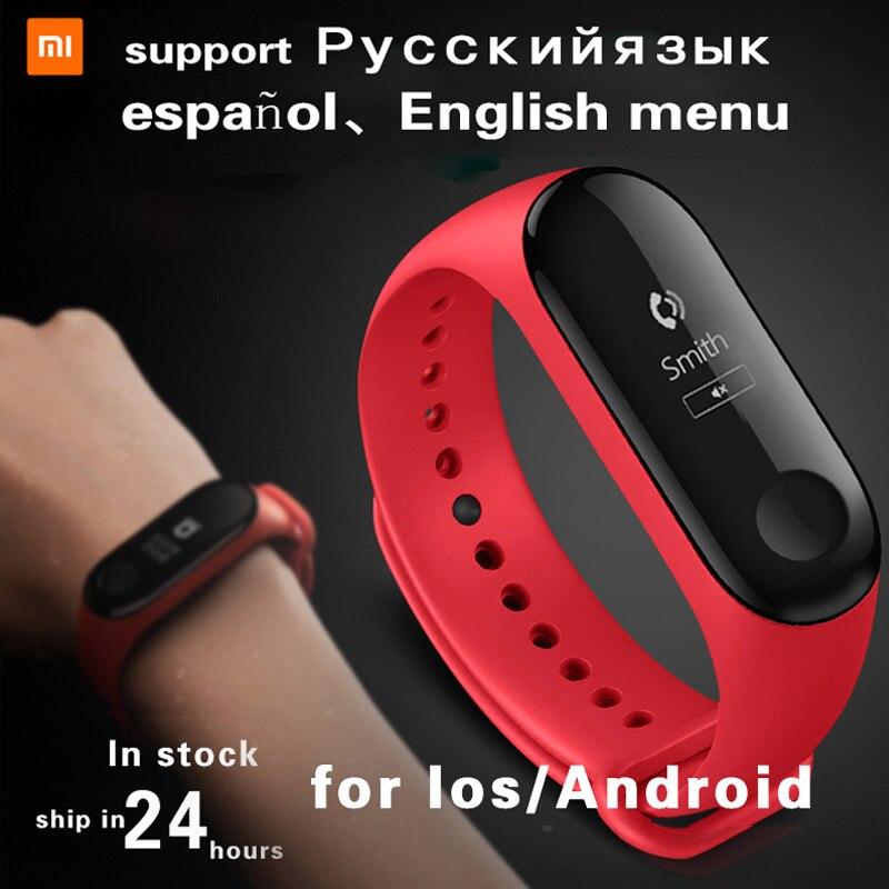 Xiao mi banda 3 Ajuste inteligente mi banda 3 táctil Pantalla de Monitor de ritmo cardíaco podómetro pulsera IP67 FitnessTracker