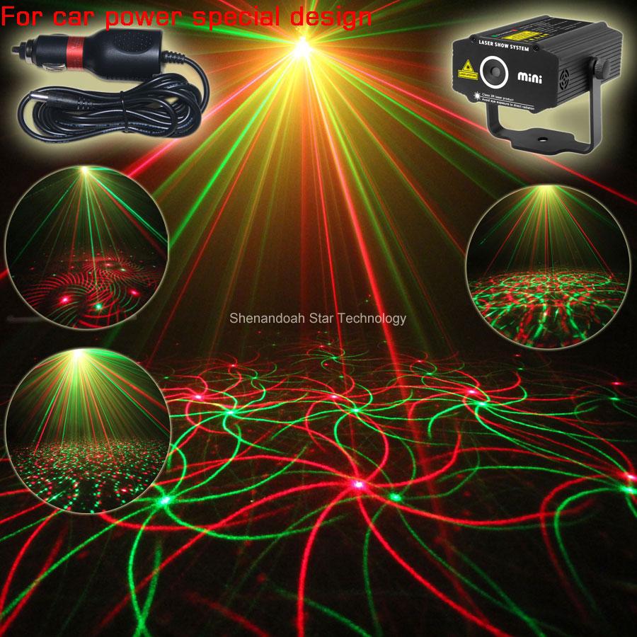 ESHINY Car DC 12V Använd plugg RG laser Projektor virvelvind 4 mönster Ljusfält utomhusträdgård Park Party Sceneffekt Visa CR1D4