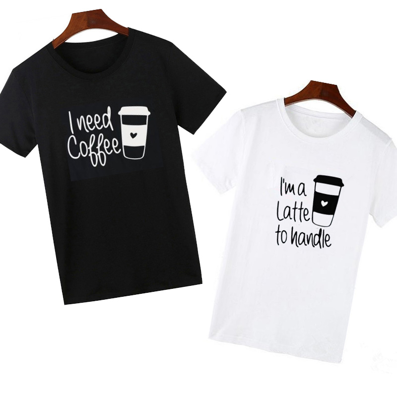 Pkorli men women funny t shirt for lovers i need coffce for Couple printed t shirts india