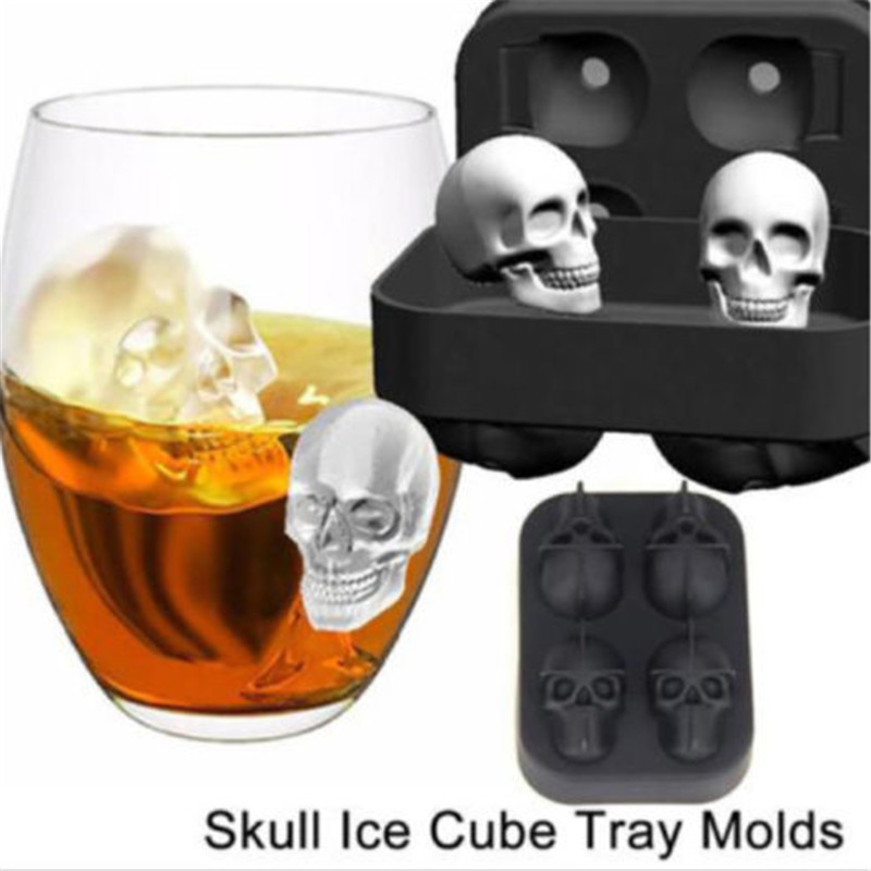 Home Skull Shape 3D Ice Cube Mold Maker Bar Silicone Trays Chocolate Mold Kids Gifts Baking Tools Bakeware