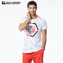 GLO-STORY 2019 Mens Short Sleeve T-Shirts Basic Streetwear Male Fashion Tiger Print Style Summer Tops MPO-7313