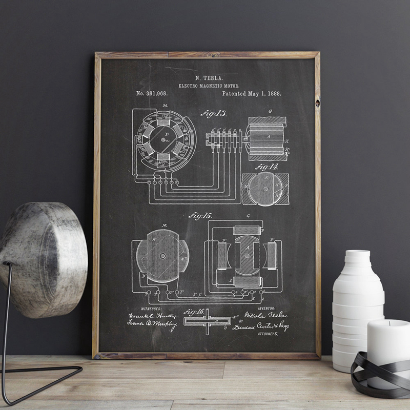 Nikola Tesla Motor Patent Blueprint Vintage Posters And Prints Artwork Magnetic Motor Wall Art Canvas Painting Gift Home Decor