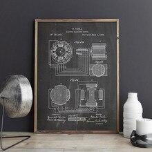 Nikola tesla motor patente blueprint vintage posters e impressões arte da parede do motor magnético arte da lona presente decoração casa