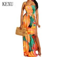 KEXU Sexy Open Back High Split Loose Maxi Dress Elegant Vintage Printed Sleeveless Floor-length Women Summer Retro Dresses
