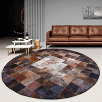 American style luxury natural brown color round cowhide patchwork rug , handmadecow skin fur chequer carpet for living room