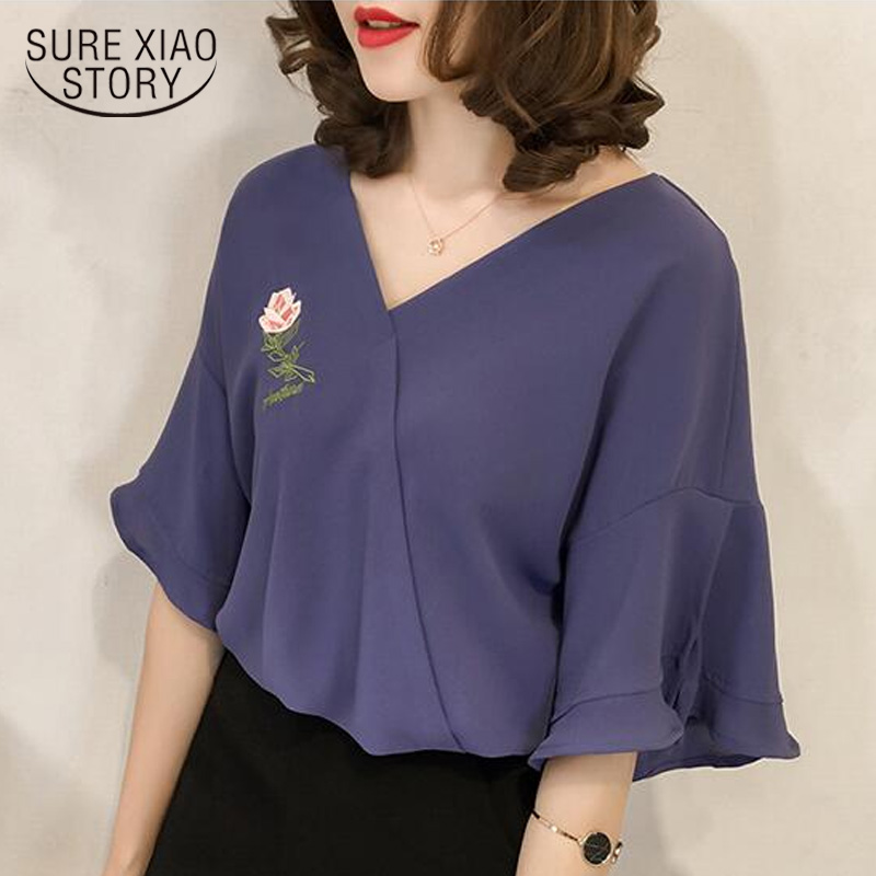 blusas mujer de moda 2020 short sleeve women blouses plus size tops chiffon blouse women shirts womens tops and blouses 3957 50