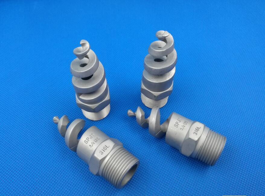 Hollow cone Spiral nozzle 304SS, 316LSS, brass, Teflon, PP, PTFE Spiral spray desulfurizing tower nozzle