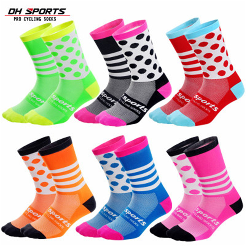 DH Sports Compression Cycling Socks Men Women Professtional Road Racing Sport Socks Breathable Running Socks Calcetines Ciclismo