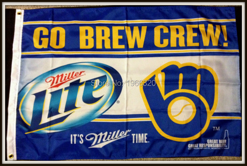 miller lite beer milwaukee brewers banner flag 3ft x 5ft