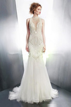 Luxury Heavy Handmade Pearls Mermaid Wedding Dress Bride High Neck Sleeveless Sweep Train Vestido De Noiva NM 862