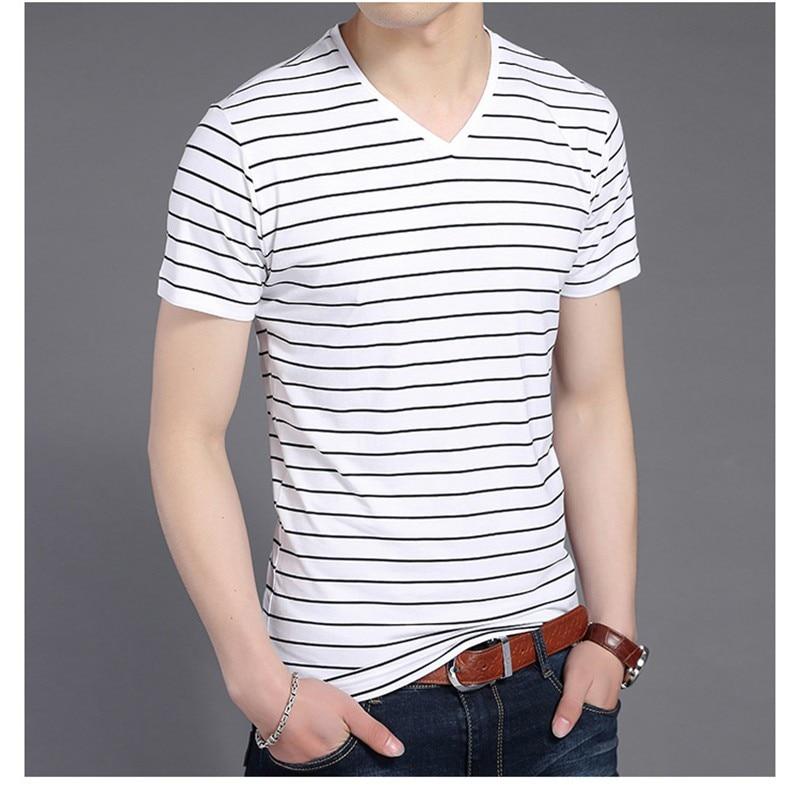 Liseaven New Men V Neck Striped T-shirt Short Sleeve tshirt Fashion Men's tees Clothing 10