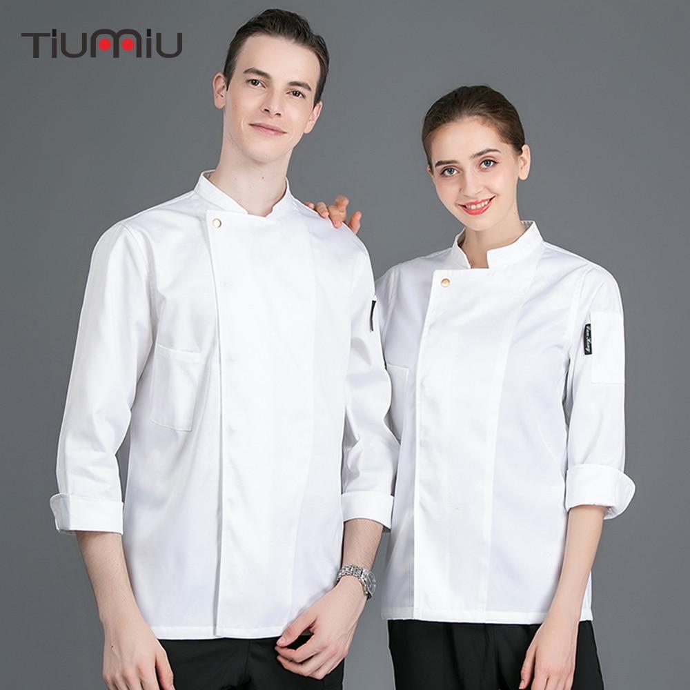 New Arrival Chef Jacket Food Service Kitchen Baker Work Uniform Cooking Coat Restaurant Catering Hotel Cook Wear Overalls