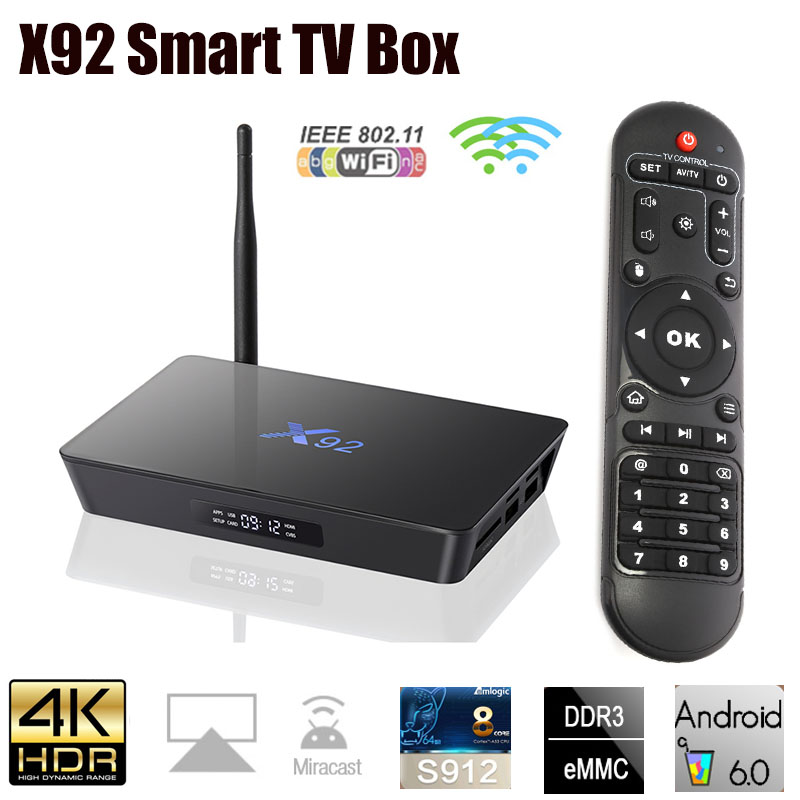 D'origine X92 Android 6.0 Smart TV Box Amlogic S912 OCTA Core 5g Wifi 4 k HD H.265 Set Top boîte KD Lecteur Infrarouge Télécommande