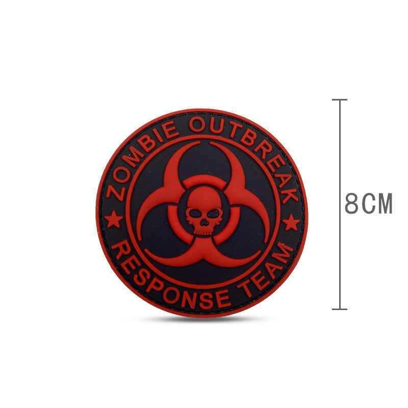 ПВХ вспышка зомби ответная команда Biohazard патч череп боевой бейдж крюк тактический patche Военная нарукавная нашивка оптовая продажа