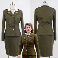 Avengers Capitan America Agente Peggy Carter Uniforme Olive Green Cosplay Costume Per Le Donne Adulte Costume Set Completo