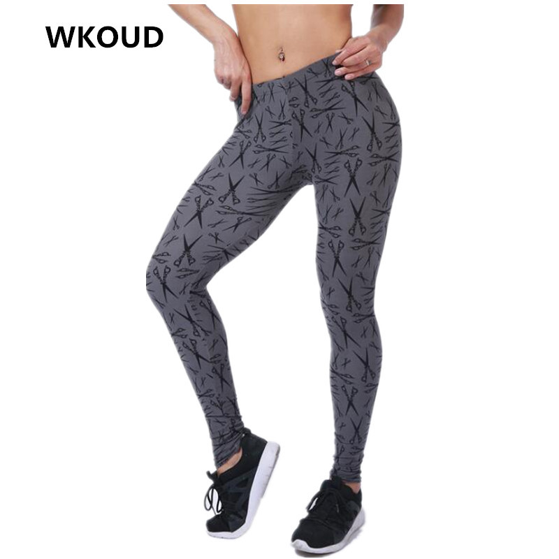 7ca3dc72b2b7c6 WKOUD Women Leggings Fashion Skinny Pants Sexy Cartoon Scissors Printed  Pant Slim Elastic Jeggings Casual Trousers P8199-in Leggings from Women's  Clothing ...