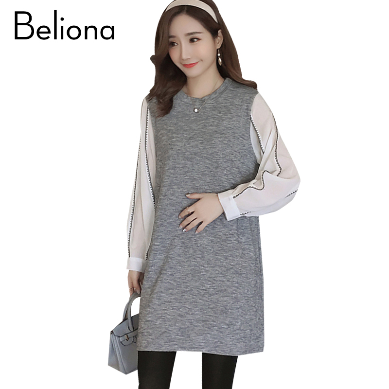 Stitching Striped Maternity Dress Bohemian Pregnancy Clothes Loose Long Sleeve Maternity Clothing Of Pregnant Women 2018