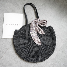 2019 new round straw bag beach bag woven large capacity single shoulder hand crochet Summer girl bag