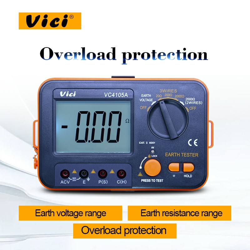 Vici VC4105A digital earth resistance tester 0-1999ohm Earth AC Voltage tester 0-199.9V LCD backlight ground testerVici VC4105A digital earth resistance tester 0-1999ohm Earth AC Voltage tester 0-199.9V LCD backlight ground tester