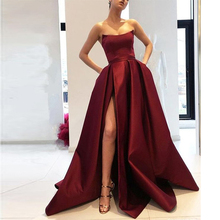 A Line Strapless High Slit Satin Burgundy Prom Dresses Long Navy Blue Evening Gown with Pockets Formal Dress Women Elegant
