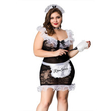 Hot Sexy Maid Uniform Costumes Cosplay Temptation Maid Sleepwear Lingerie Nightdress Set Black White French Babydoll Dress