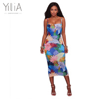 Green Red Falbala Dress Plus Size 2017 Spring Yilia O Neck Bodycon Dresses Women Three Quarter