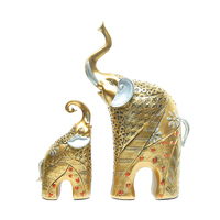 1 Pair Golden Elephant Figurines Hot Resin Crafts Vintage Mysterious Mother & Son for Wedding & Home decoration 32*13*6 Cm